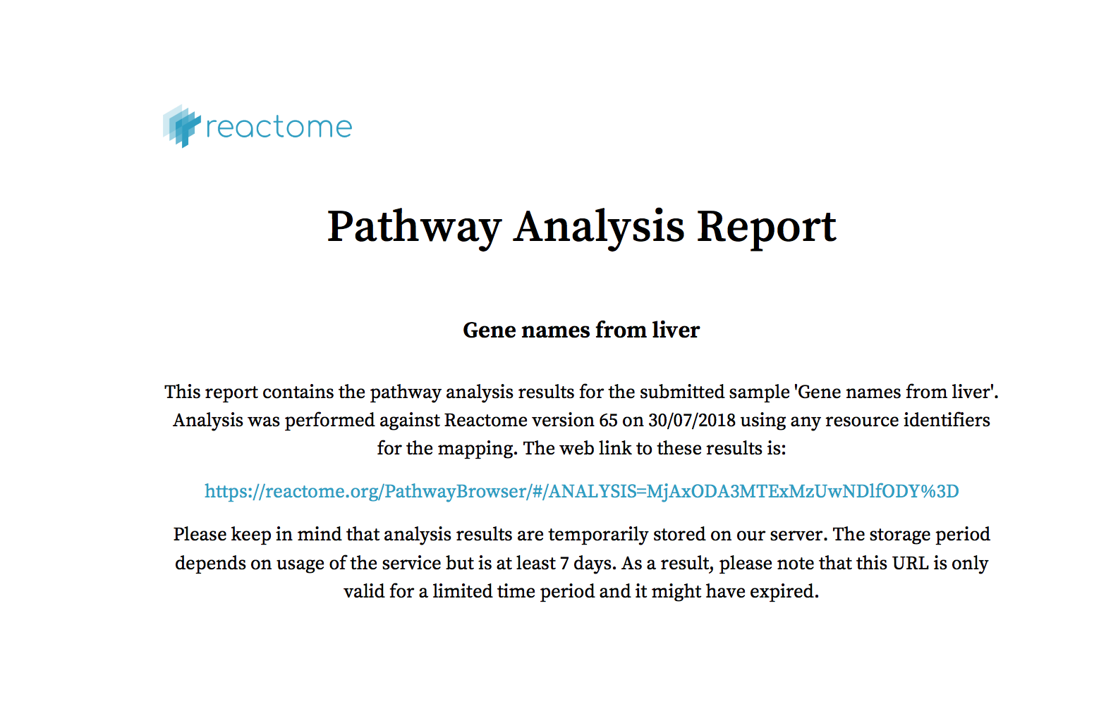 Analysis Tools - Reactome Pathway Database