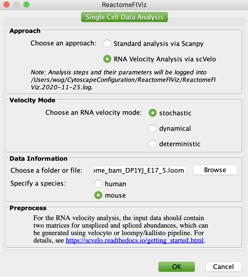 RNA Velocity Analysis Configuration